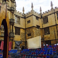 Bodleian Quad set up for Globe Theatre production of As You Like It